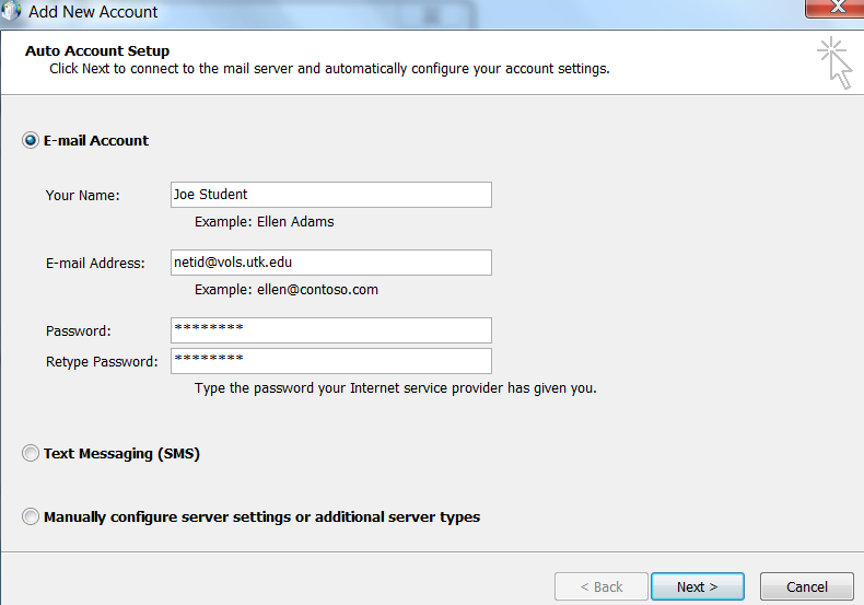 Office of information technology the university of - Office 365 server settings for outlook 2013 ...