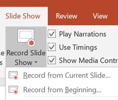 record current slide or beginning