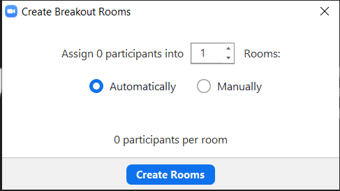 Example of Zoom Breakout Room Distribution Options