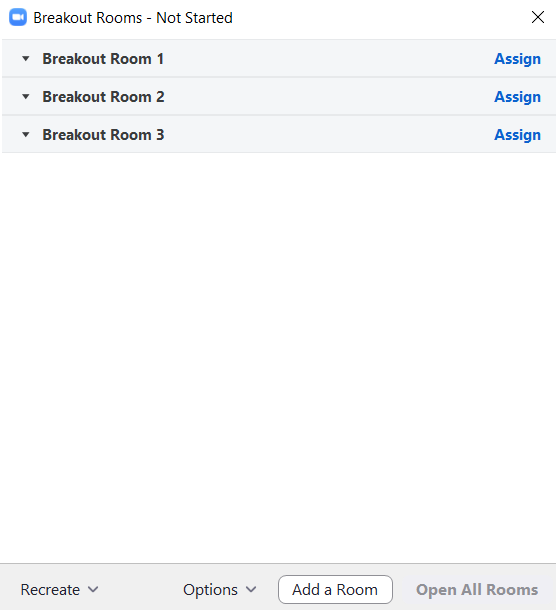 Example of Breakout Rooms Controls