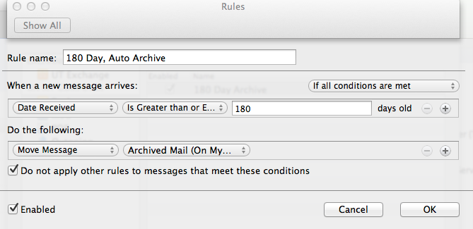 archive folder in outlook 2011 for mac