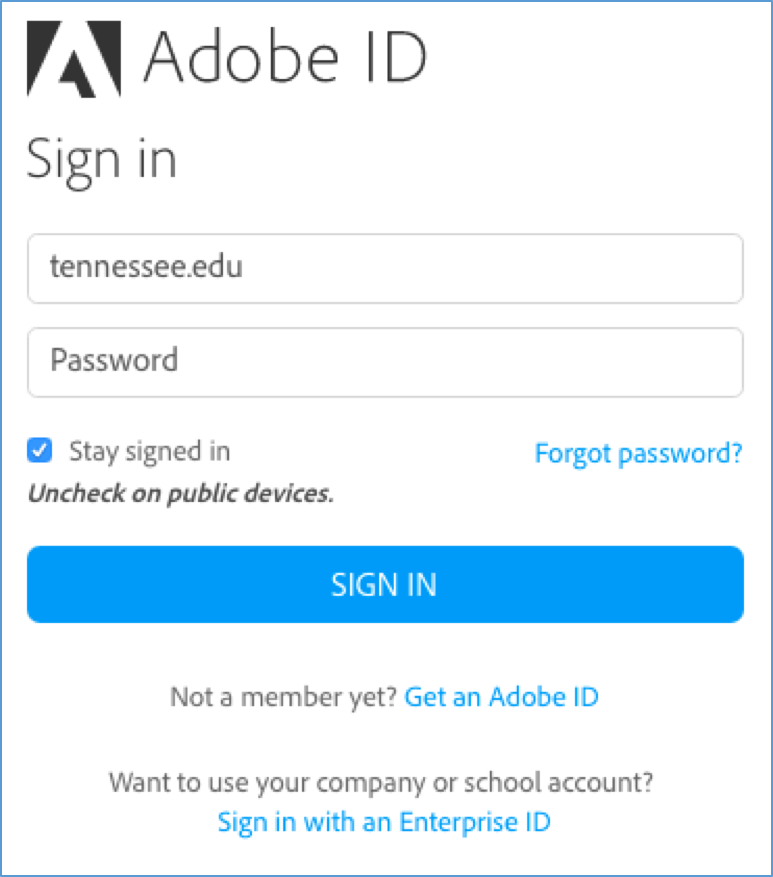 Signing into Your UT Adobe Account