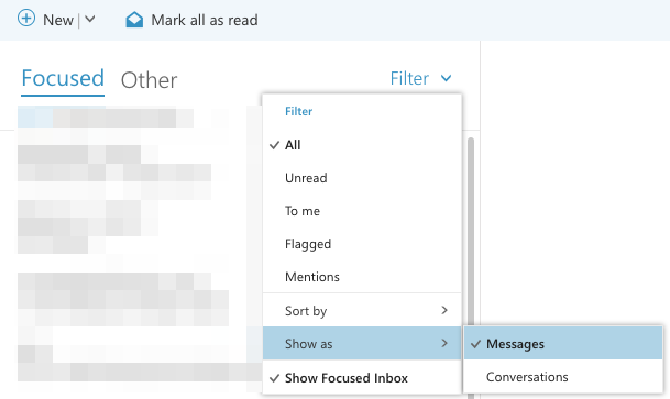 How do I turn off Conversation View in Outlook on the Web for my