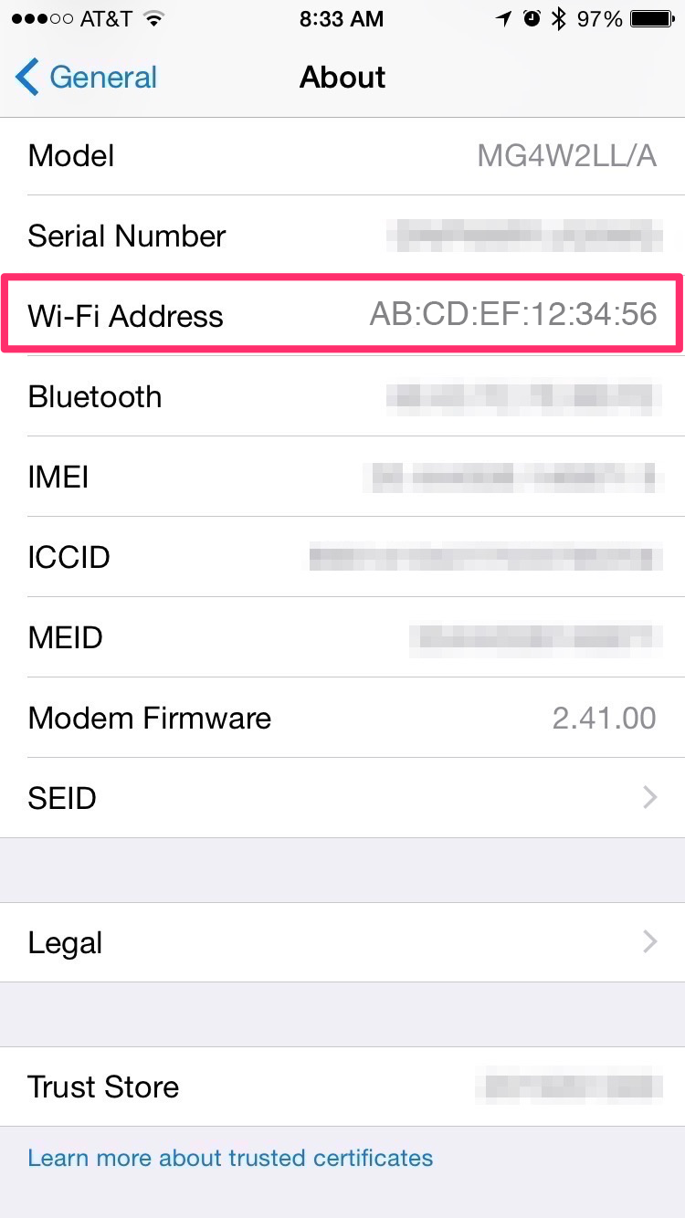 How do I find the MAC address of my iOS device?